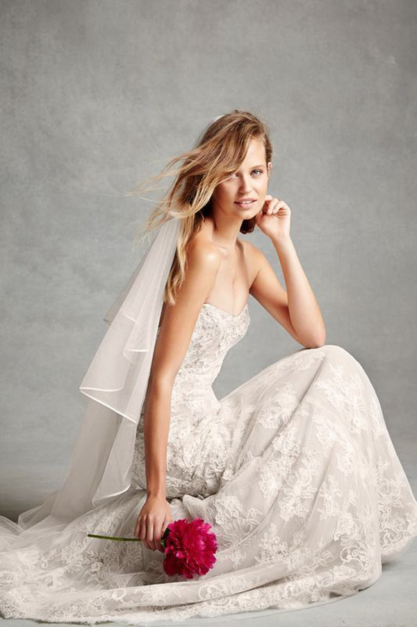champagne lace wedding dress with long veil