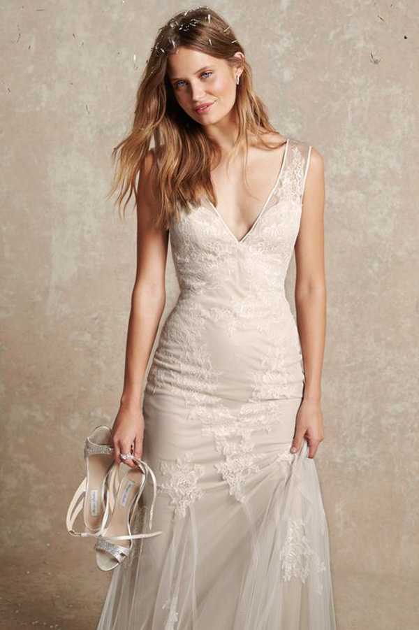 champagne v neck lace wedding dress