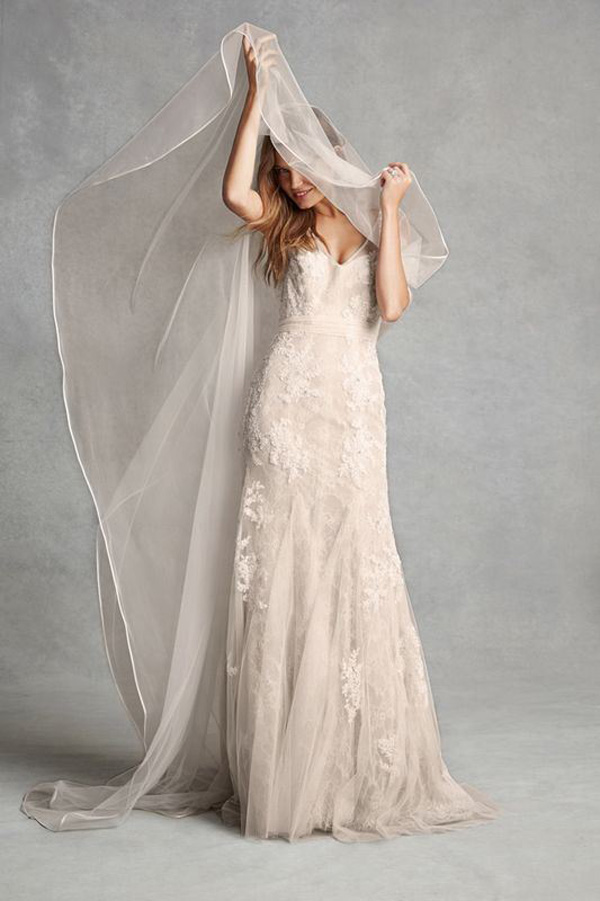 column v neck lace wedding dress
