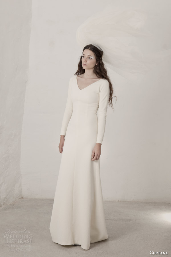cortana bridal long sleeves v neck wedding dress
