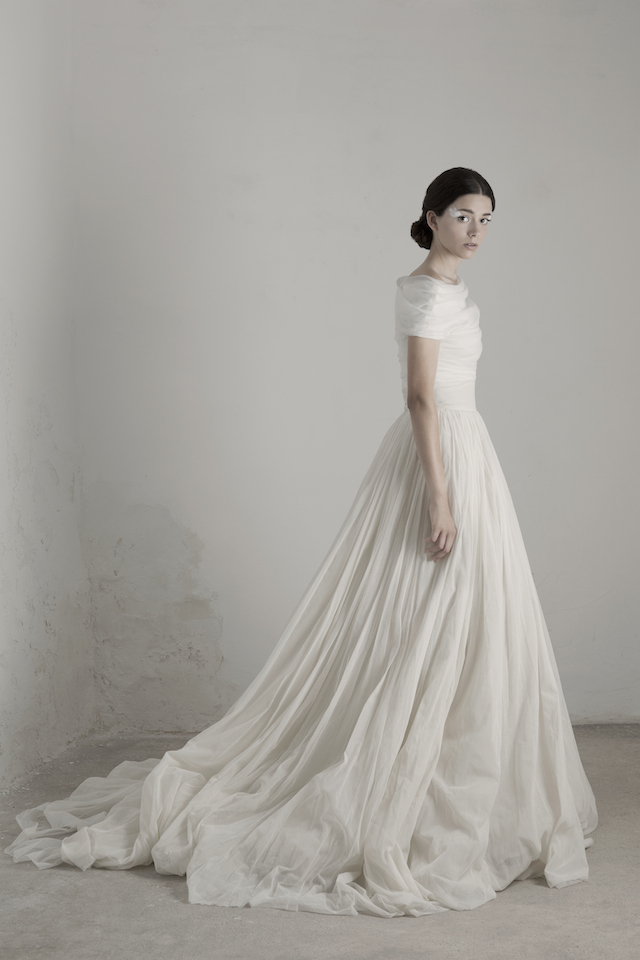 cortana off shoulder long tail wedding dress