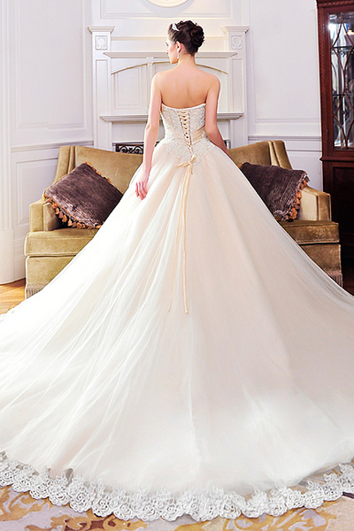 empire strapless long train wedding dress