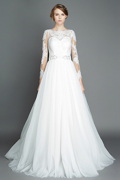 long a line wedding dress with lace sleeves
