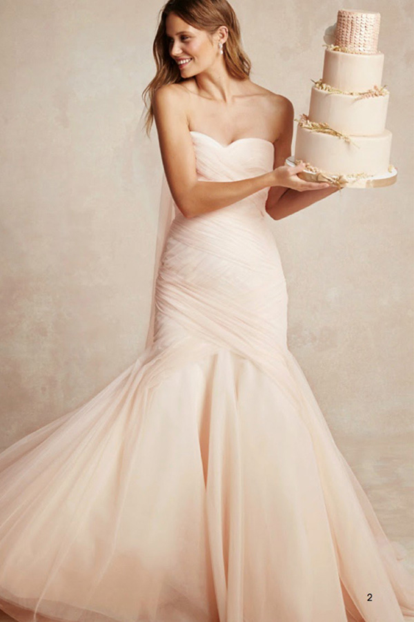 mermaid chiffon wedding dress with cake