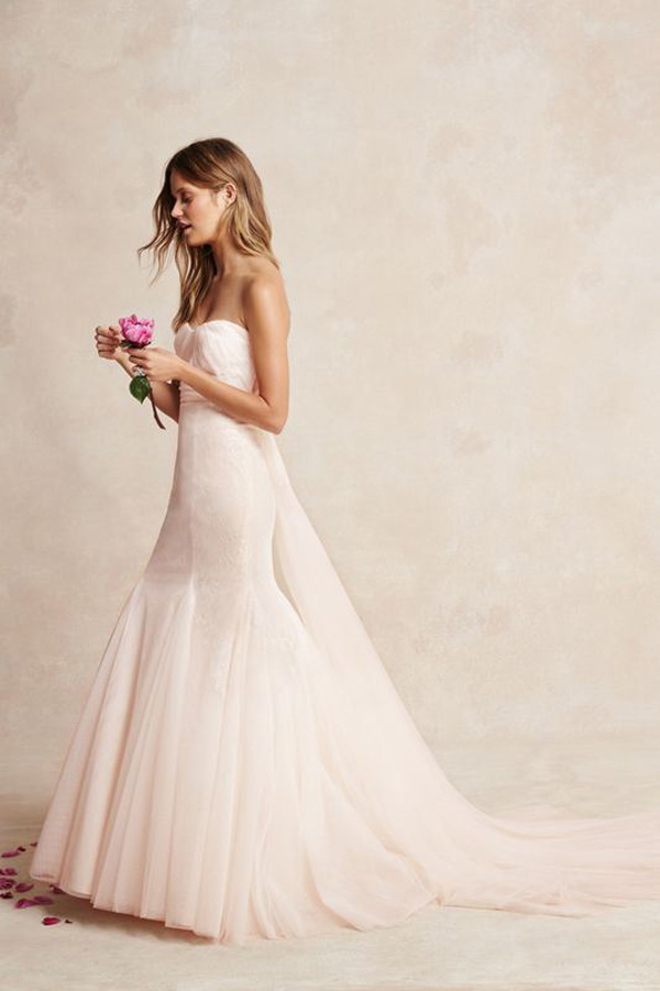 mermaid strapless satin wedding dress