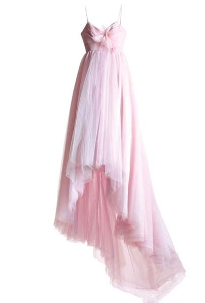 pink high low bow wedding dress