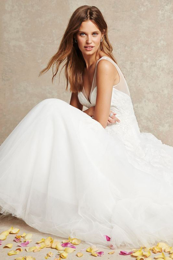sexy v neck ball gown wedding dress
