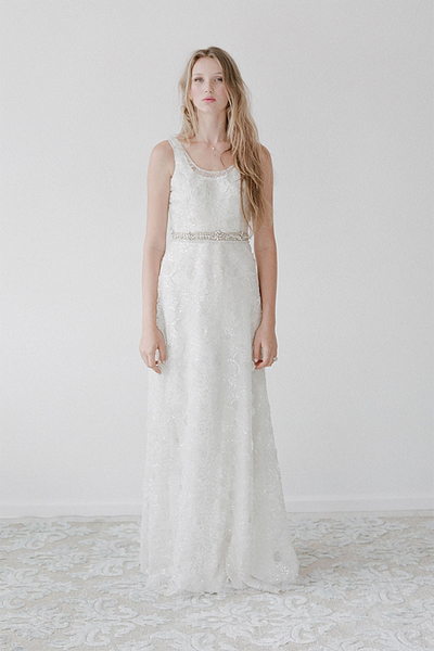 simple scoop column wedding dress