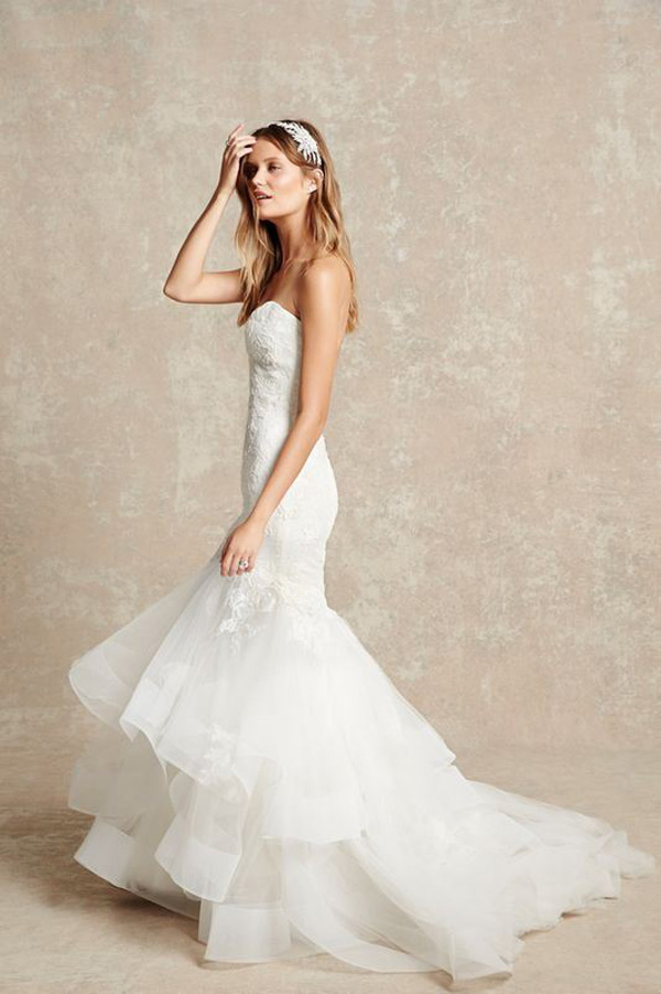 white mermaid strapless wedding d ress