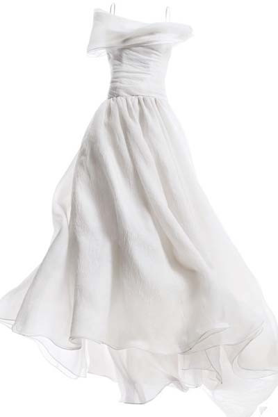 white spaghetti strap a line wedding dress