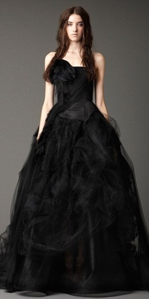 black strapless ball gown wedding dress