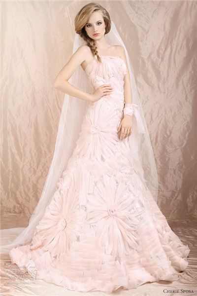 pink strapless a line flowers wedding dress from Cherie Sposa