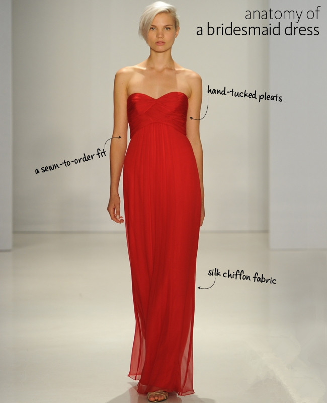 red silk chiffon long bridesmaid dress
