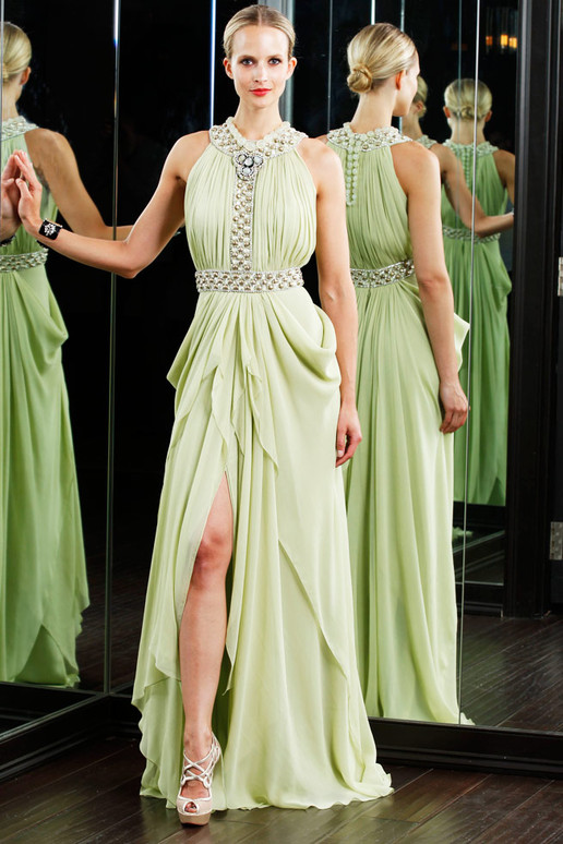 green high split halter bridesmaid dress
