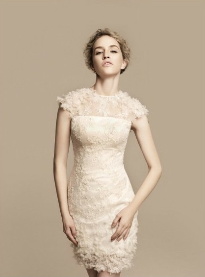 short lace bridesmaid dress