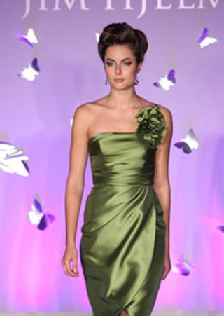 Olive flower green bridesmaid dress