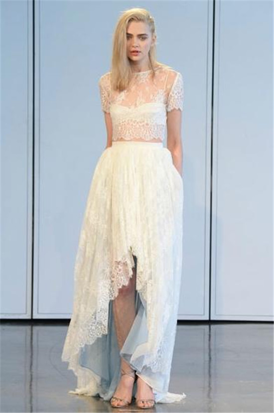 Houghton2015 high low lace wedding dress