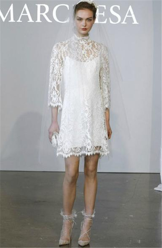 Marchesa2015 vintage lace short wedding dress