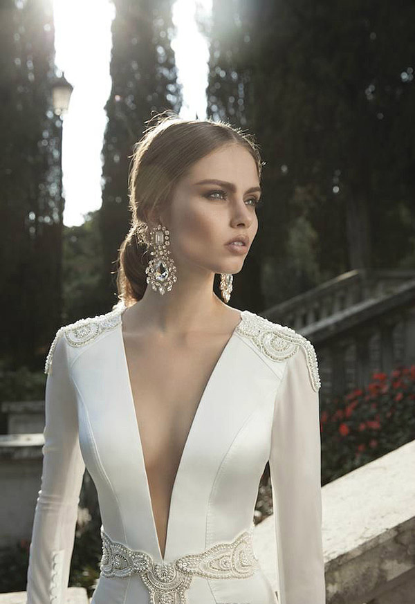 big v neck wedding dress with long sleeves