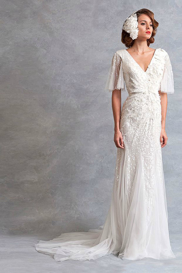 chiffon v neck long sequins wedding dress