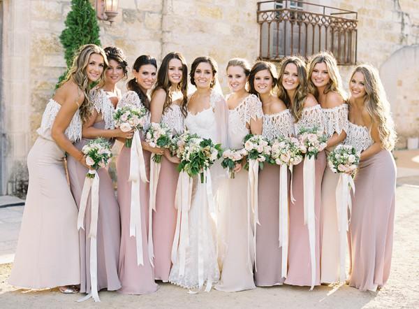 elegant lace and chiffon bridesmaid dress