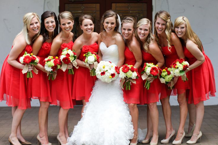 red short bridesmaid dresses