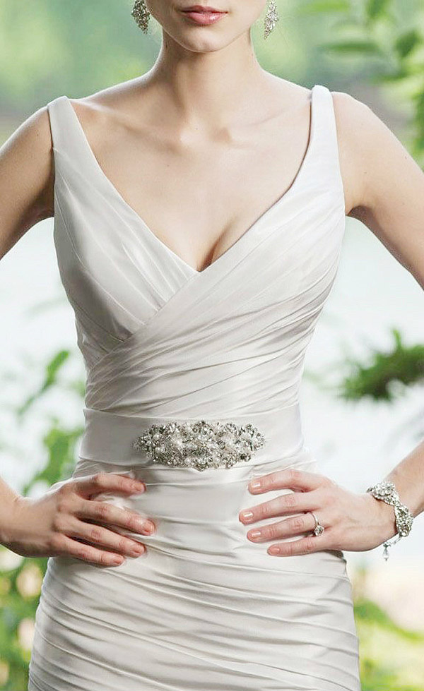 sexy big v neck wedding dress with sequins