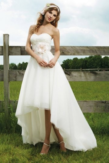 Applique Lace Sweetheart High Low Organza Wedding Dress