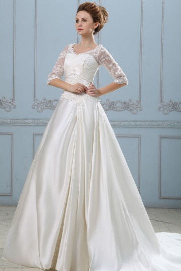 Solid Applique Lacework V Neck Half Sleeve Court Train Satin A Line Wedding Dress