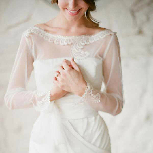 chiffon off shoulder wedding dress with sleeves