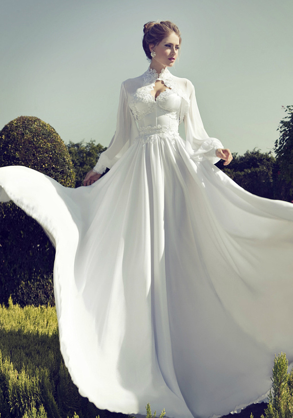 chiffon wedding dress with sleeves