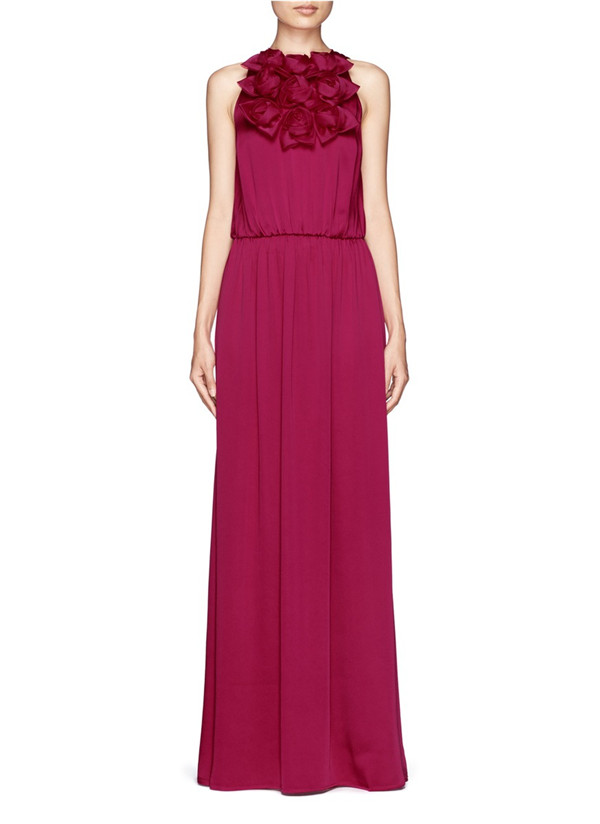 long fuchsia rose bridesmaid dresses