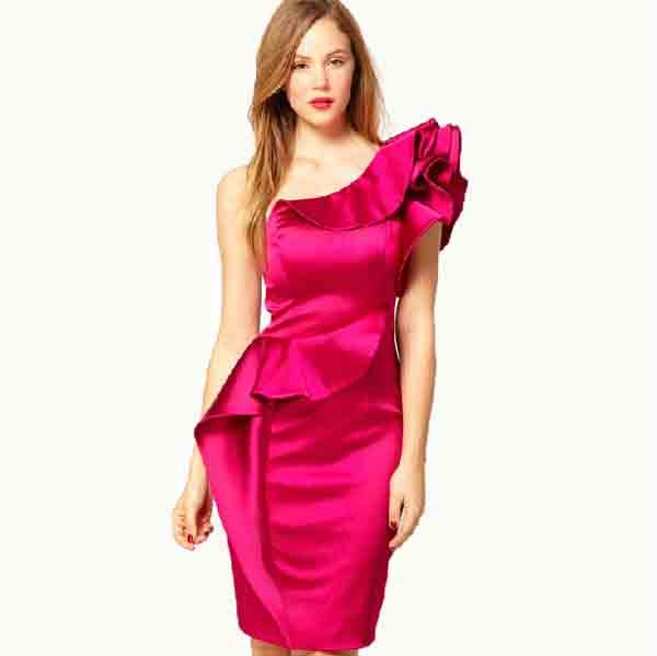 one shoulder fuchsia ruffles satin bridesmaid dress