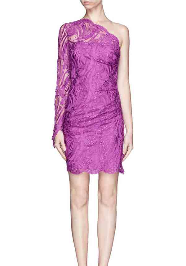 one shoulder purple lace bridesmaid dress