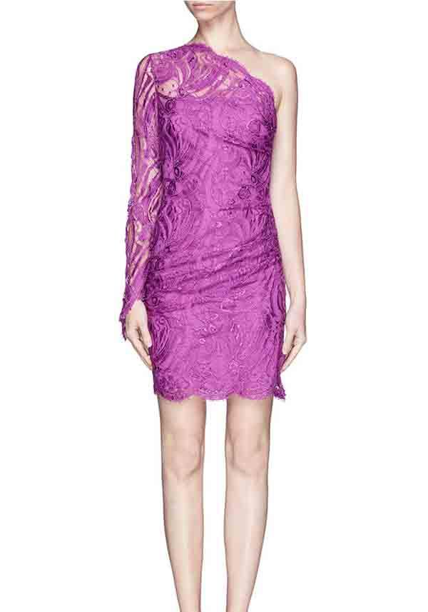 one shoulder purple lace bridesmaid dress