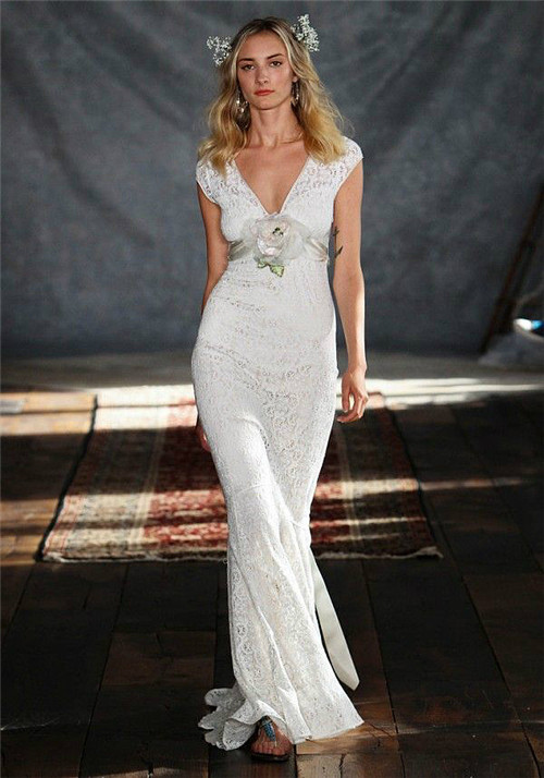 sexy v neck lace mermaid wedding dress with flower belt