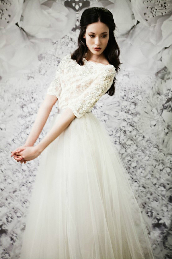 tulle wedding dress with lace sleeves