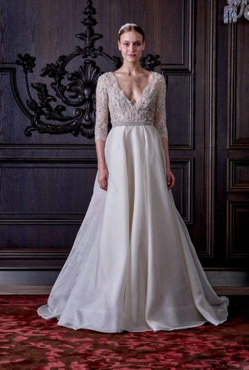 Monique Lhuillier2016 sexy v neck wedding dress