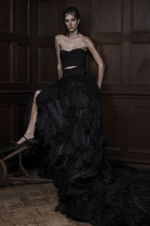 Vera Wang 2016 black feather wedding dress