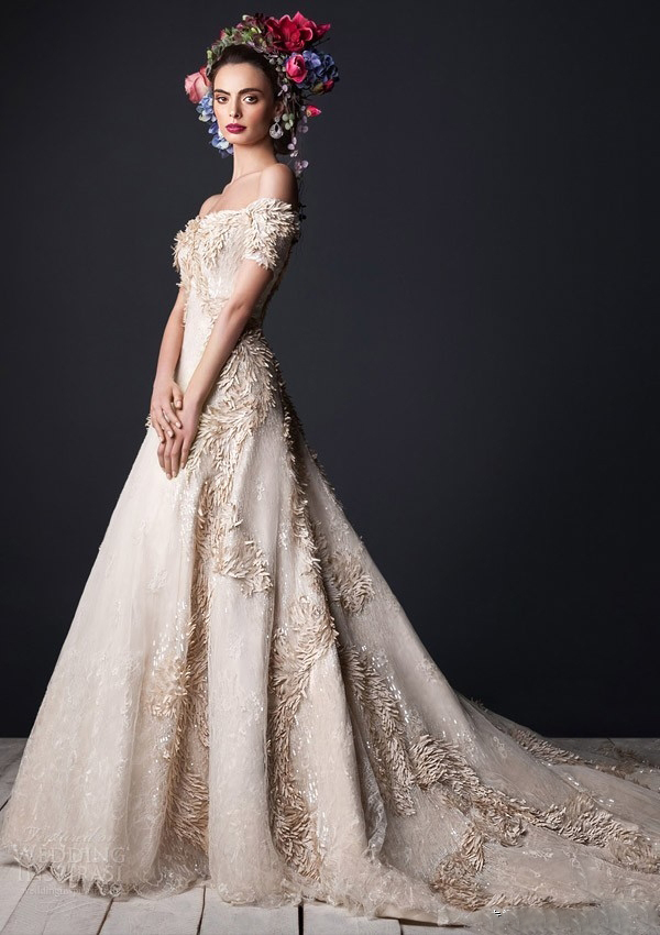 nude color embroidery silk wedding dress