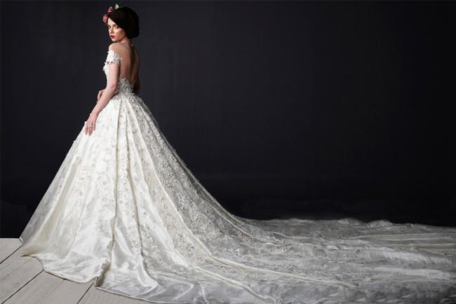 satin backless wedding dress