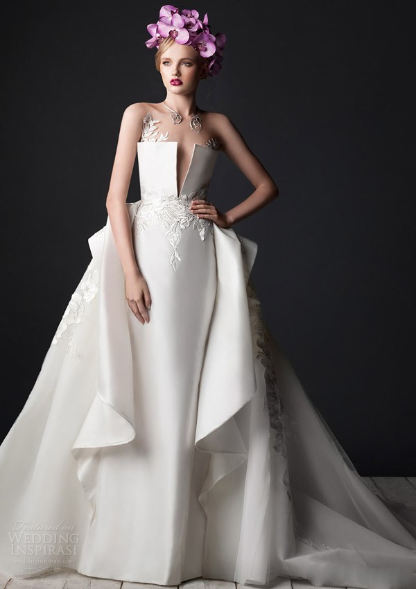 satin flowers wedding dress