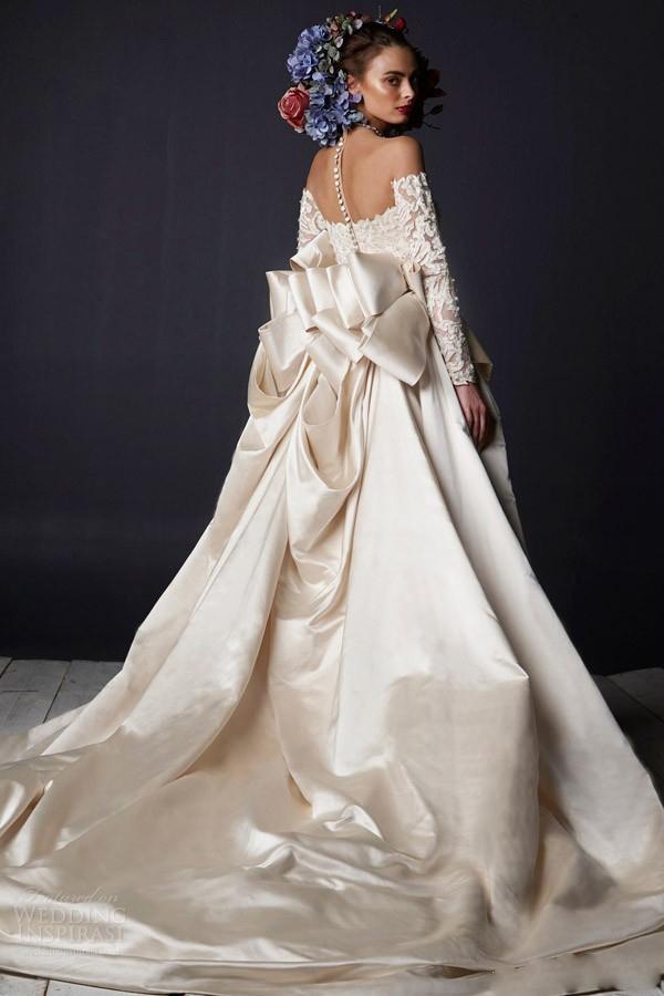 satin wedding dress with big bow