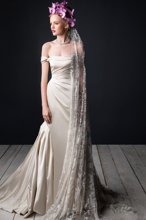 sexy satin pleated wedding dress