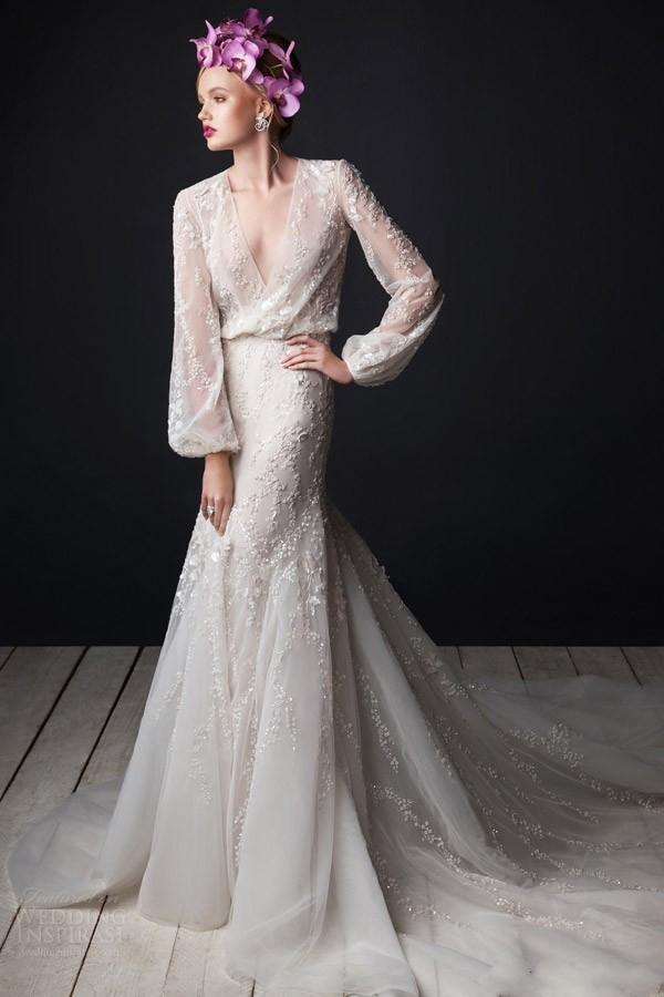 sexy v neck beading wedding dress