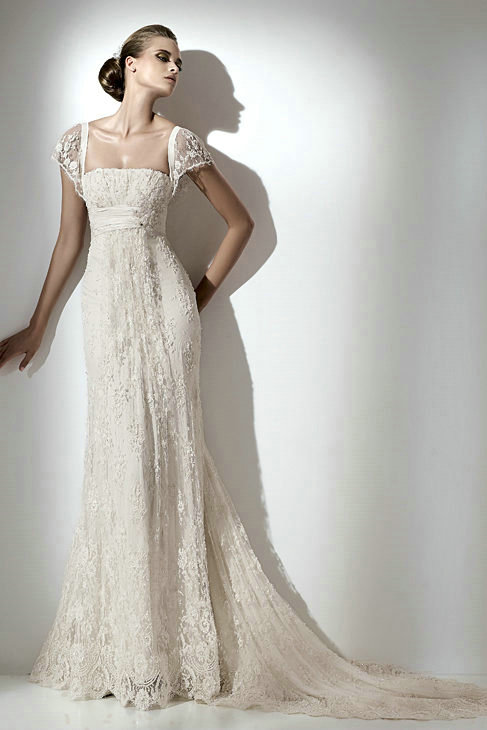 elegant empire vintage lace Wedding Dresses